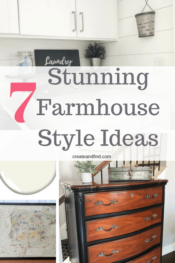 7 stunning ways to add some farmhouse style and character to your home. If you love the rustic, farmhouse look, check out these easy DIY and decor ideas #createandfind #farmhousestyle #farmhouse #diyprojects #rusticdecor