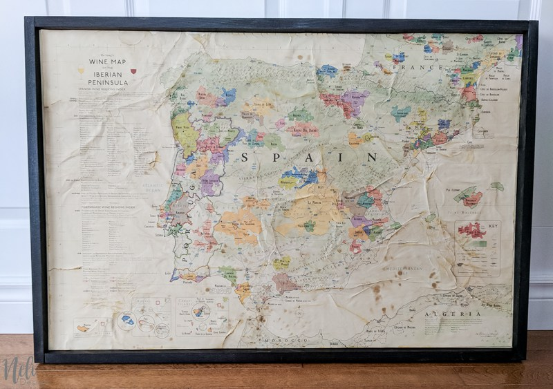 farmhouse style decor vintage framed map