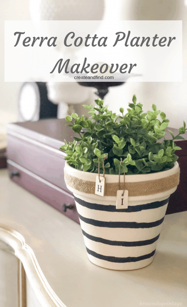Make over a plain terra cotta planter with this fun and easy DIY Project. Use basic craft store supplies and you've got a custom planter! #diyprojects #diyplanter #planters #easyprojects