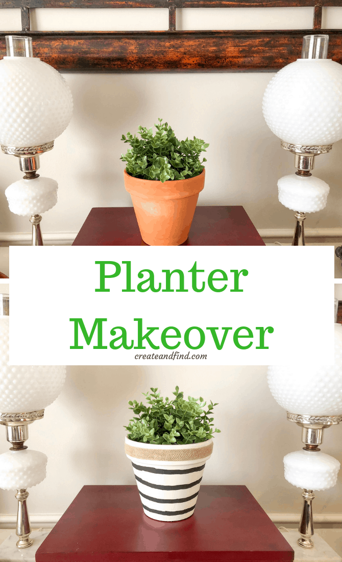 terra cotta planter makeover with craft supplies