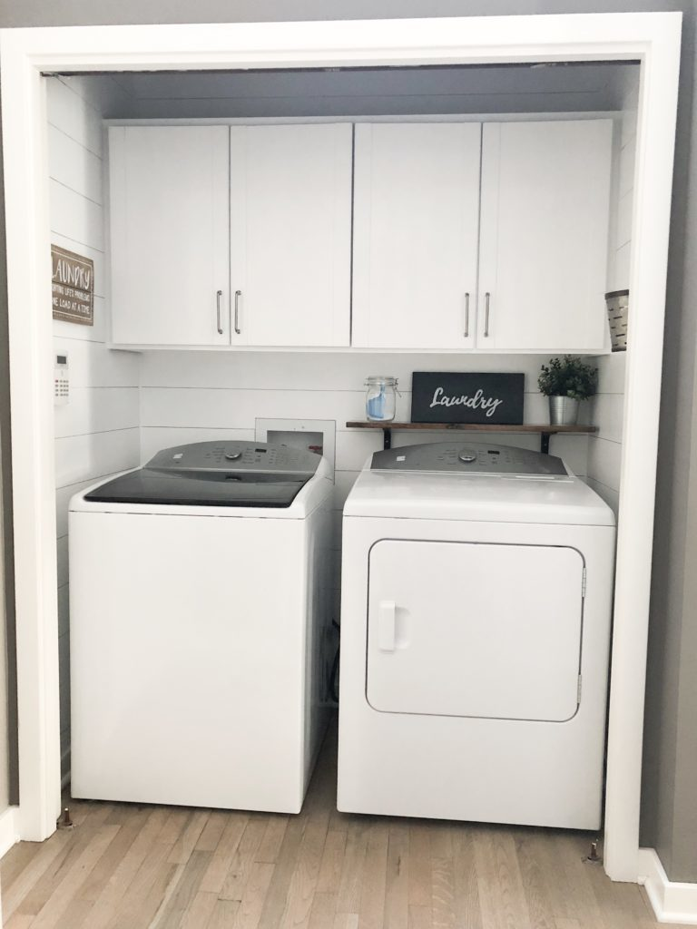 farmhouse style shiplap laundry room