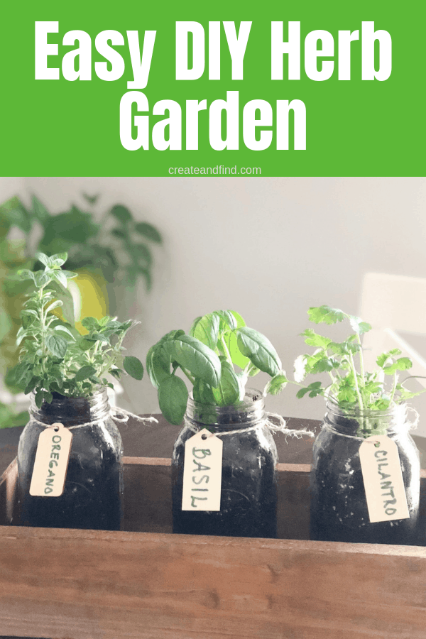 Make your own DIY Indoor Herb Garden this year and enjoy delicious herbs year round #createandfind #herbgarden #diyprojects #gardening