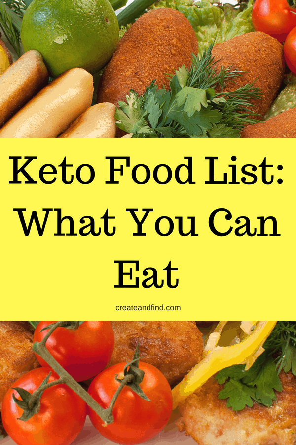 What to eat while on a keto diet - Keto Food List. Foods to eat on keto, what foods to avoid, proteins, veggies, fruits, and more. Keto diet for beginners #createandfind #ketodiet #ketolifestyle #ketoforbeginners #ketofoods #healthyeating