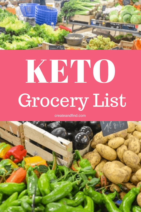 Keto grocery shopping list for two adults and two children - a complete list for keto grocery shopping for a week. #createandfind #keto #ketomealprep #ketoforbeginners