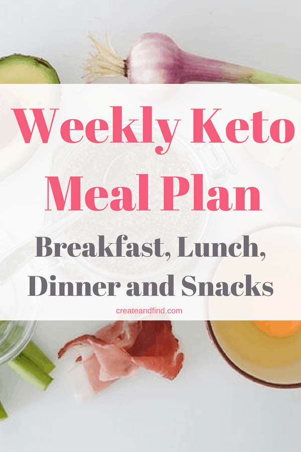 Weekly keto meal plan - breakfast, lunch, dinner and snacks for one week of keto eating. #createandfind #ketodiet #keto #ketolifestyle