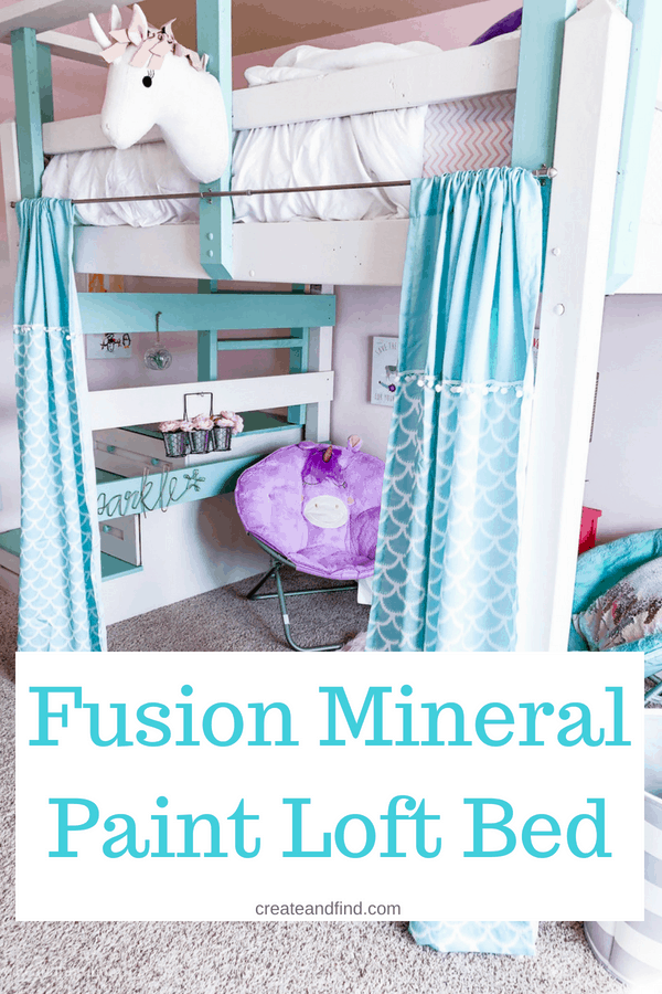 DIY Loft Bed - Fusion Mineral paint Raw Silk and Laurentien - A DIY furniture project that'll show you the pros and cons of this paint, how we made over this loft bed and mistakes to avoid #createandfind #diyprojects #furntitureprojects #fusionmineralpaint