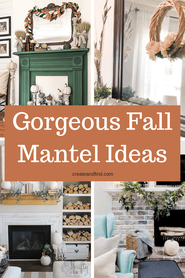 Gorgeous Fall Mantel inspiration - DIY, store bought, thrift store, and ideas for shopping your own house for fall decor #createandfind #falldecor #mantels #fallmantels