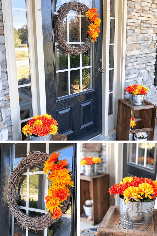 Fall Decor Ideas from Dollar Tree supplies - Fall front porch makeover for less than $10 #createandfind #fallporch #falldecor