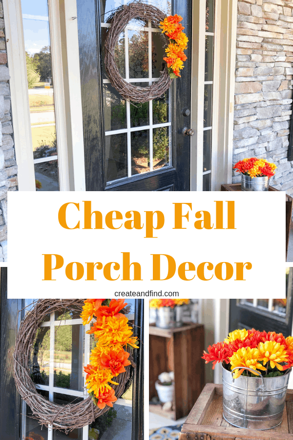 Fall porch decor from Dollar Tree supplies. Give your front porch a quick fall makeover in no time! #createandfind #falldecor #fallfrontporch #porchdecor