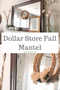 Dollar store fall mantel decor with DIY pumpkins - an easy DIY project to add some fall decor #createandfind #falldecor #diypumpkins #diyprojects