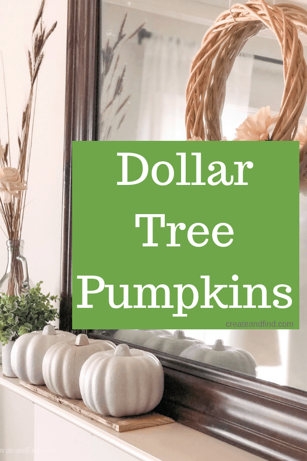 Makeover simple dollar tree pumpkins for a neutral fall mantel using paint.