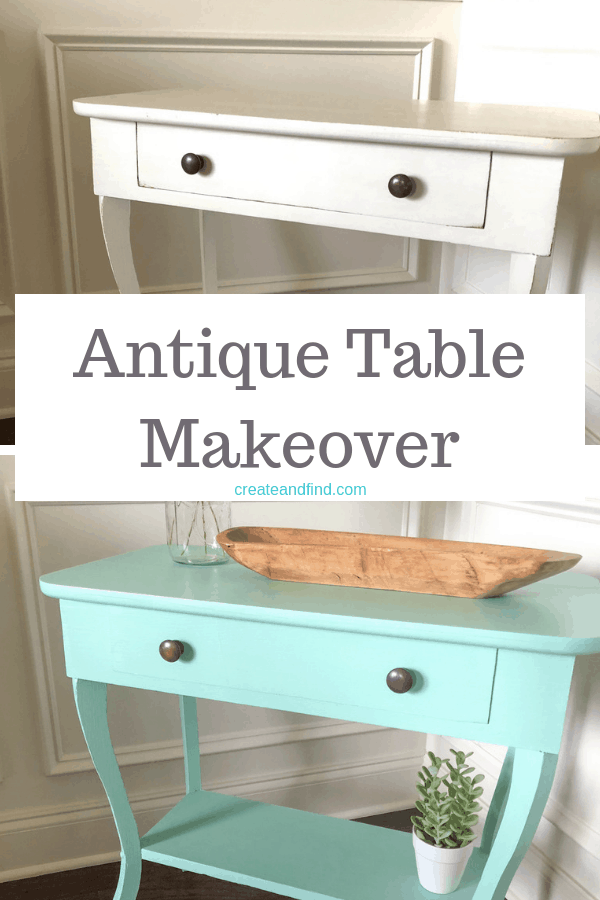 Antique side table makeover painted in Fusion mineral paint Laurentien. A quick DIY project for a furniture makeover #diyproject #furnituremakeover #tablemakeover #sidetable #fusionmineralpaint
