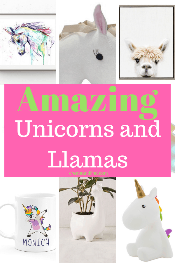 The Best Unicorn and LLama Decor Ideas for your home or gifts #createandfind #unicorndecor #llamadecor