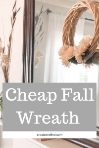 Easy and cheap DIY Fall wreath you can make for $3 and five minutes with basic craft store supplies. #fallwreath #diywreath #diyproject #easydiyproject #cheapfalldecor