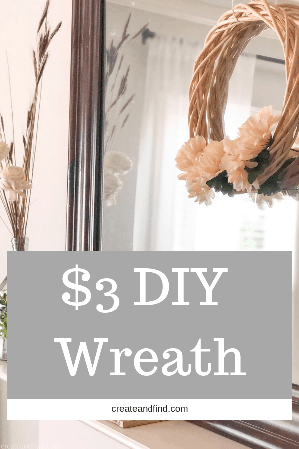 Easy $3 DIY Fall Wreath using Dollar Tree supplies - make your own fall decor for cheap! No fancy skills needed for this simple DIY project. #createandfind #falldecor #diywreath #easydiyproject #fallwreath #neutralfalldecor