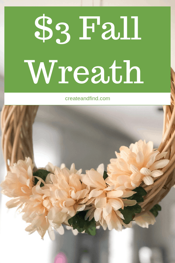 A simple DIY craft project for fall you can make for $3 and about 5 minutes. Simple DIY wreath using Dollar Tree supplies #createandfind #diywreath #wreaths #fallwreaths #diyfalldecor #diyprojects