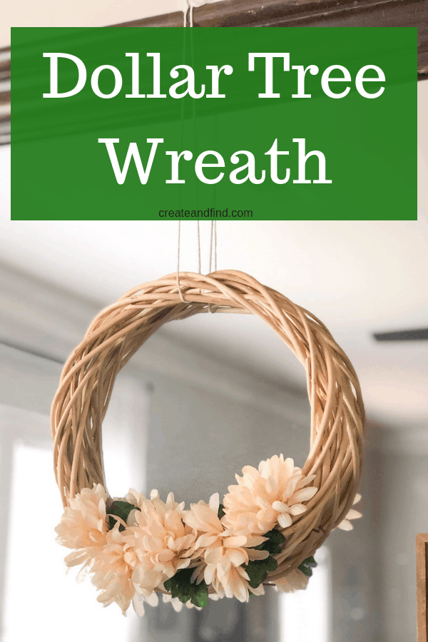 Make an easy DIY Fall wreath using dollar store supplies. A simple neutral DIY project you can do in five minutes. #easydiyprojects #fallwreath #falldecor #cheapfalldecor #diyproject #easycraftproject #5minutedecor
