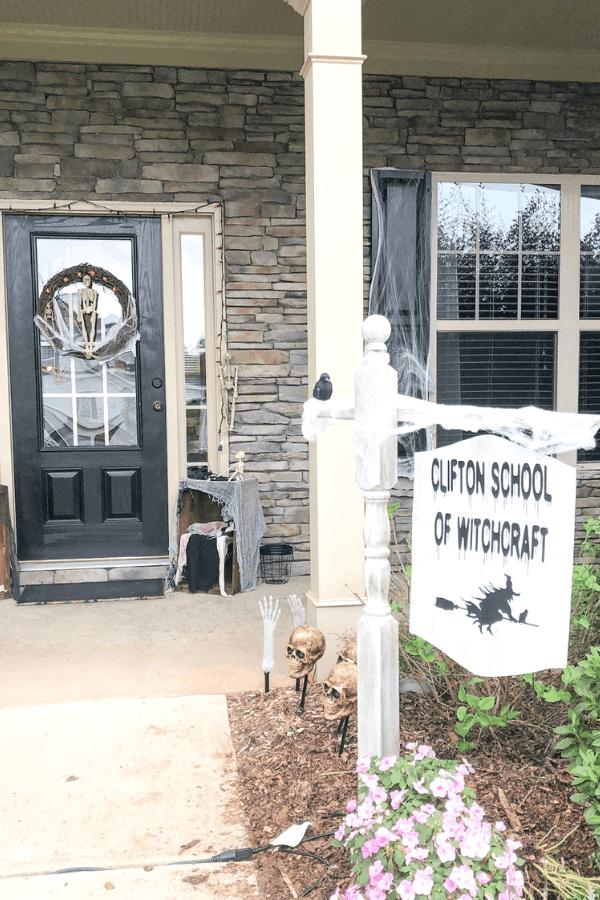 Dollar Tree Halloween Wreath and DIY Sign