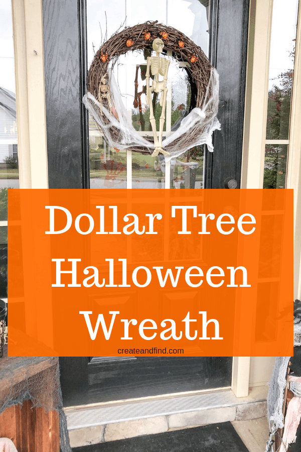 Cheap Halloween Wreath - A simple Halloween diy project that you can make using dollar store supplies. #createandfind #diywreath #halloweendecorations #halloweencrafts #diyprojects