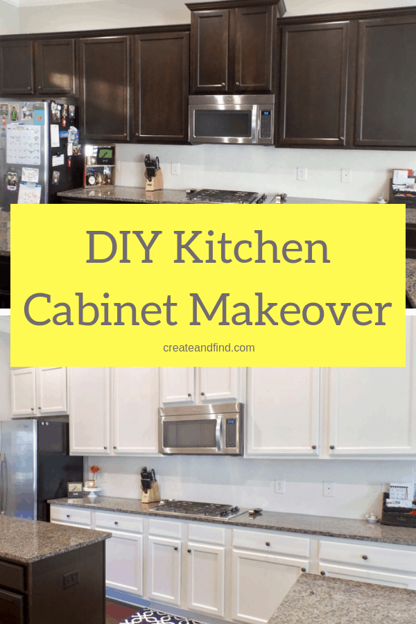 A complete guide for how to paint kitchen cabinets - products you need and how to use them to get a DIY kitchen makeover for less #createandfind #kitchencabinetmakeover #paintingcabinets #diyprojects