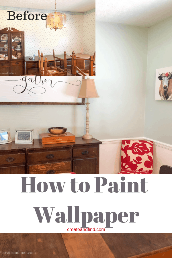 Before and After - Painting Wallpaper. I'll show you how I updated this dining room by painting over existing wallpaper #createandfind #diyprojects #paintingwallpaper #diningroom