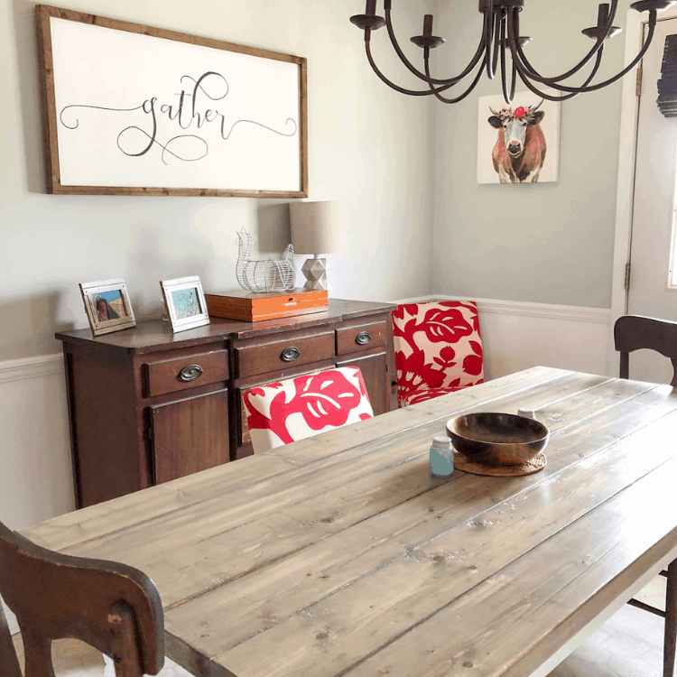 DIY farmhouse table - build a dining table with farmhouse style for less than $150! #createandfind #diytable #diyfarmhousetable
