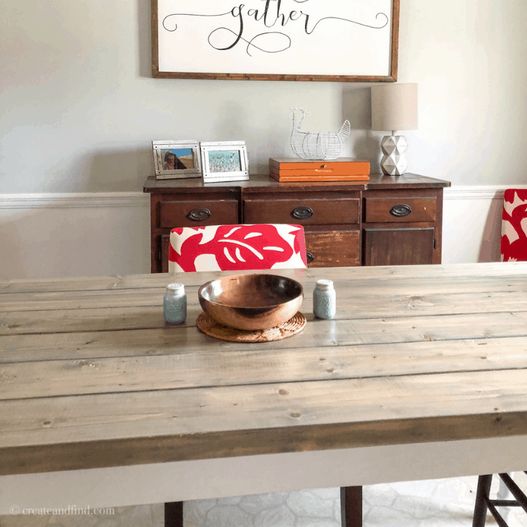 DIY farmhouse dining table for less than $150 #createandfind #diyfarmhousetable #diyprojects #diytable