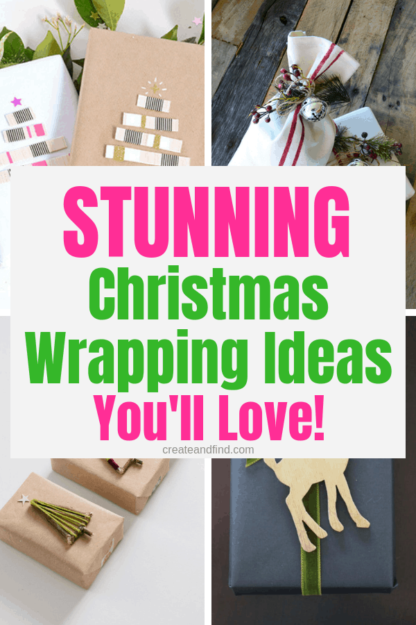 Stunning Christmas wrapping ideas - from printables, DIY, store bought, and natural elements - tons of inspiration for a festive Christmas gift! #createandfind #Christmaswrapping #giftwrapping #giftwrapideas #Christmas