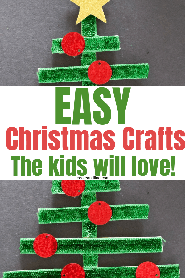 Easy Christmas Crafts the kids will love - make these simple popsicle stick ornaments in no time for your own DIY Christmas decor #createandfind #diyprojects #easychristmascrafts #diyprojects