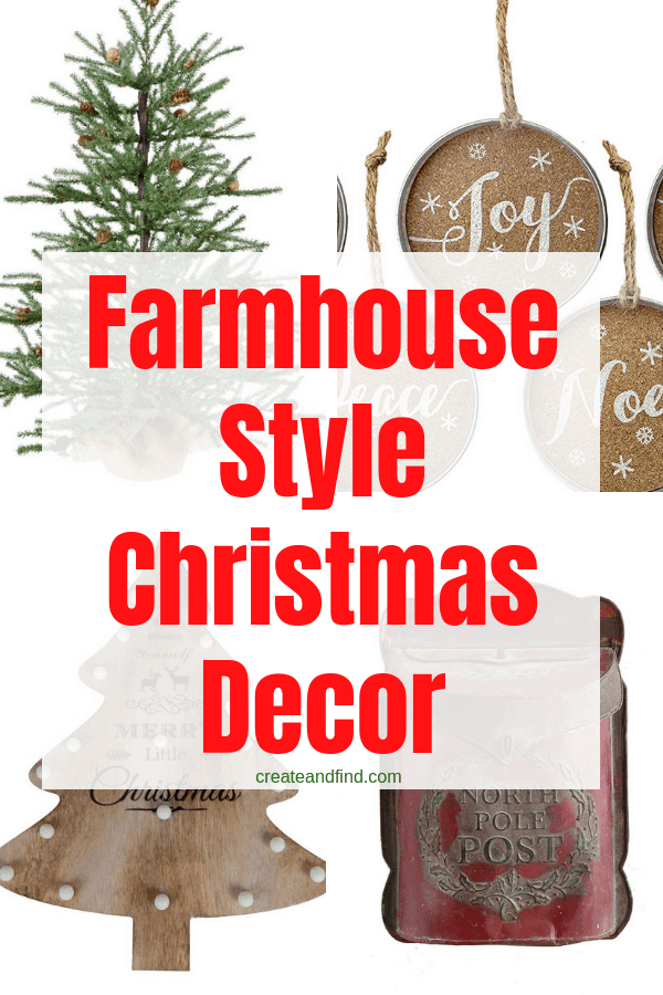 Farmhouse Christmas Decorations to add this year - rustic, simple, and farmhouse style wall art, trees, pillows, and more #createandfind #farmhousechristmasdecor #farmhousestyle #farmhousedecor #christmasdecor #rusticdecor