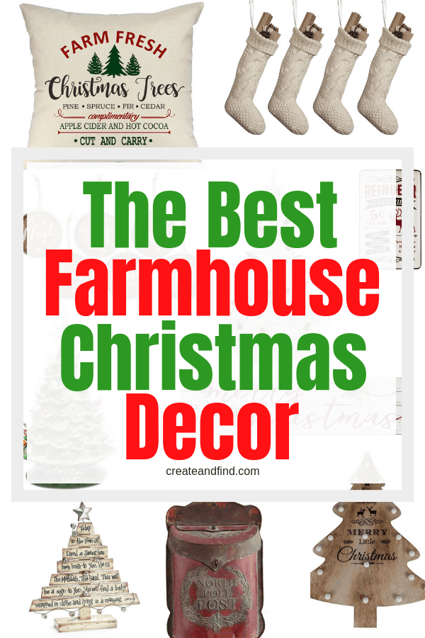 The best farmhouse Christmas decor you'll love! Add rustic, neutral, and farmhouse style finds to your Christmas decorating this year with these amazing decor ideas #createandfind #farmhousechristmasdecor #christmasdecor #rustic #farmhousestyle
