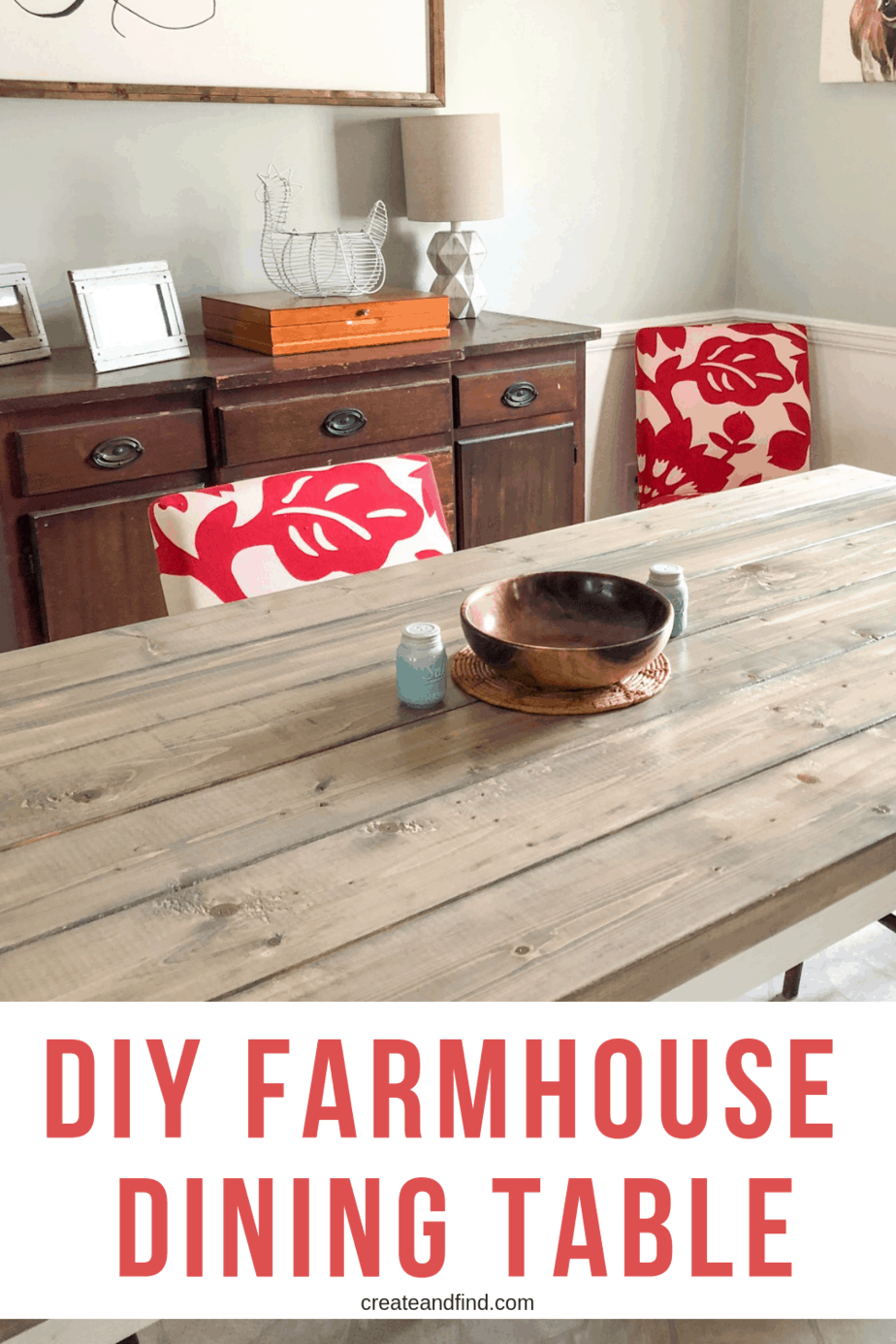 Build your own DIY Farmhouse Table with these easy to follow instructions. A DIY Project that can save you hundreds of dollars on a new dining table #createandfind #diyfarmhousetable #diytable #farmhousestyle