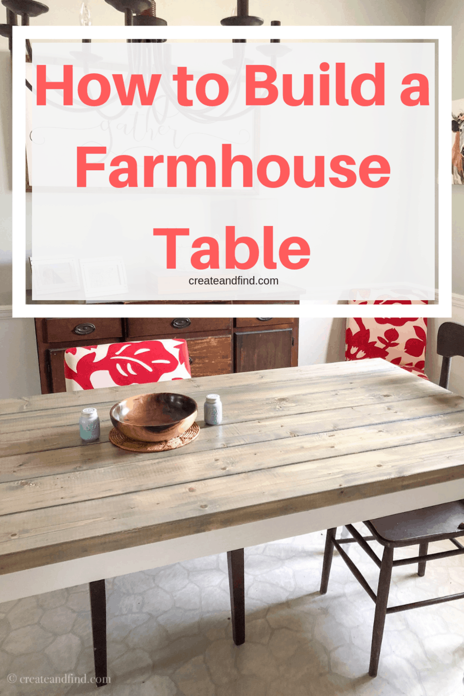 How to build your own farmhouse dining table - I'll show you how to DIY your own farmhouse style dining table for less than $150 #createandfind #diyfarmhousetable #diytable #diyprojects