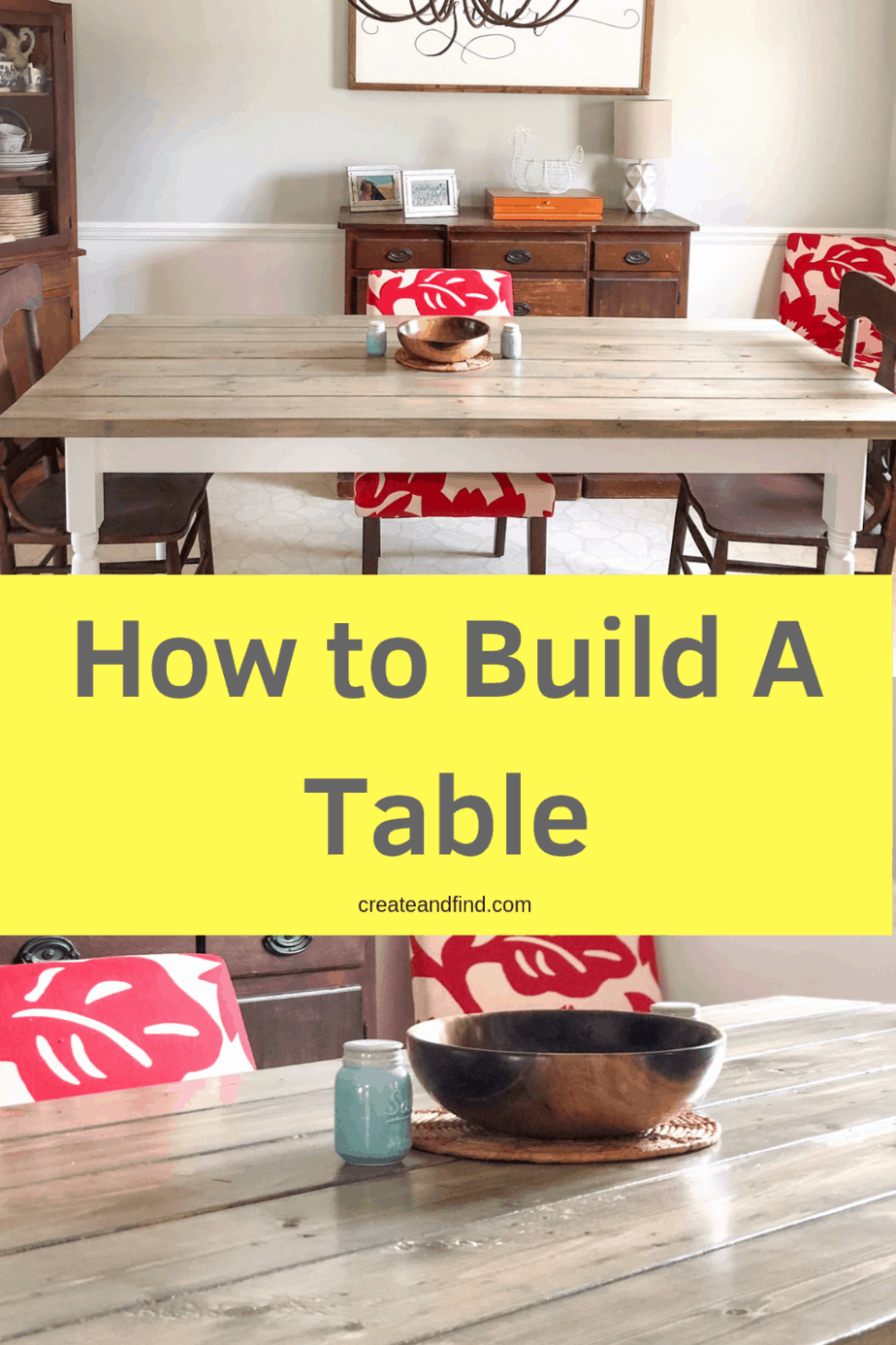 Build your own DIY Farmhouse table using this tutorial - a DIY project that'll save you hundreds of dollars and give your dining room farmhouse style #createandfind #diyfarmhousetable #diningtable #diyprojects