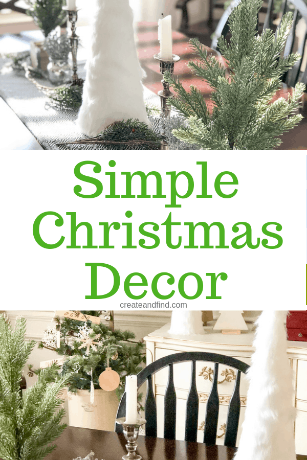 Simple Christmas Decor - a dining room decked out for Christmas with DIY, hand me downs, and sentimental decor. Simple and inexpensive Christmas decorating this year! #createandfind #simplechristmasdecor #christmasdecor #christmas