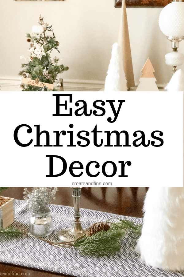 Don't let the Christmas decorating stress you out this year. Check out my simple Christmas decor using thrifted finds, DIY, hand me downs, and more #createandfind #easychristmasdecorating #christmasdecor #christmas #simplechristmasdecor