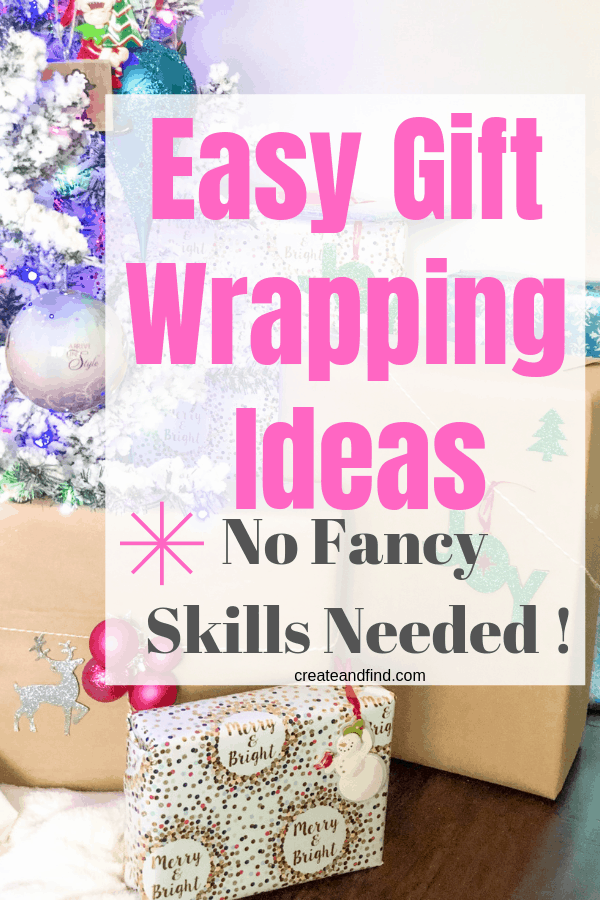Easy Christmas wrapping ideas for this holiday season. Simple ways to wrap gifts using craft paper, simple decorations, and basic craft store supplies #createandfind #easychristmaswrappingideas #Christmaswrappingideas #giftwrapping