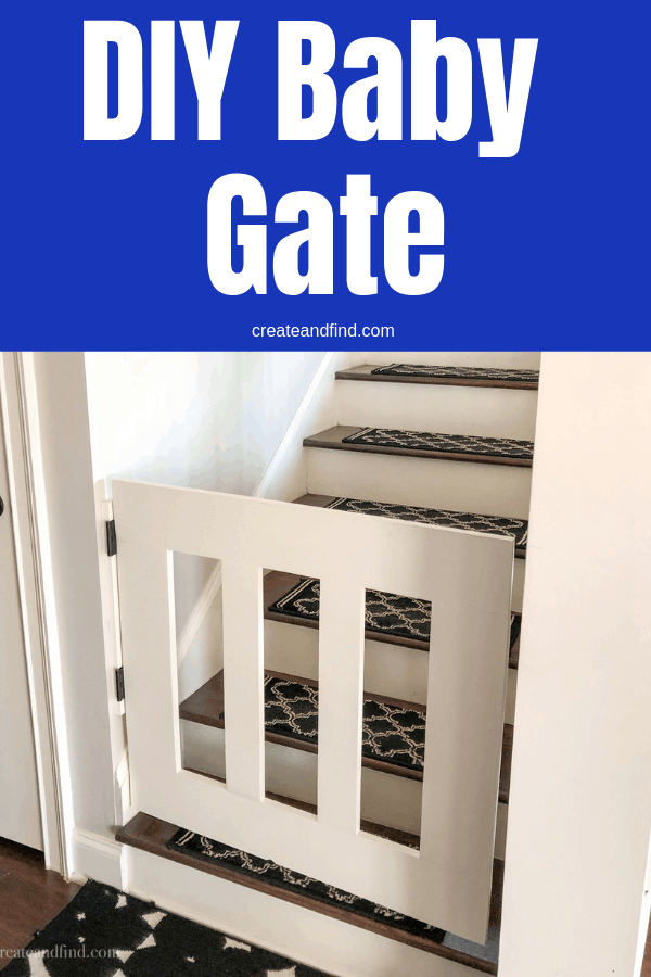 How to build your own DIY Gate to keep kids and pets safe from stairs. An affordable project you can do for around $30 #createandfind #diyprojects #diygate