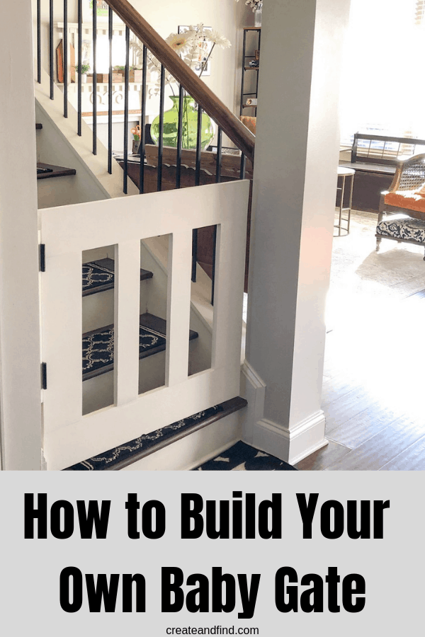 How to build your own DIY Gate - keeps kids and pets safe from stairs with this easy and affordable DIY Project #createandfind #diygate #diybabygate #woodworking