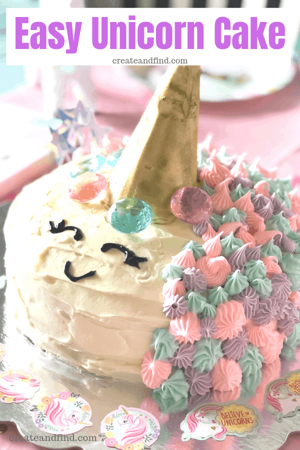 Unicorn Birthday Cake and Party Decorations