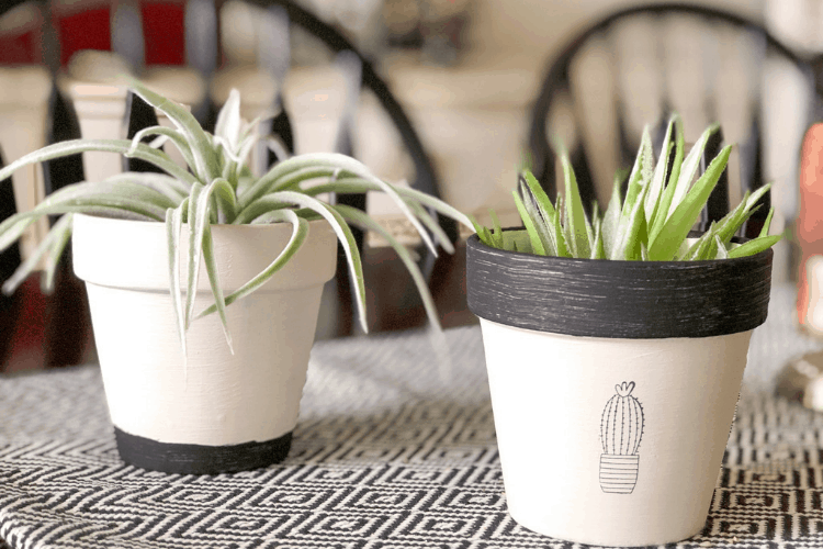 DIY planters - Spring projects from plain pots using basic craft supplies