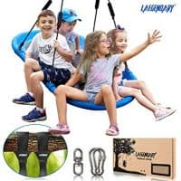 """60"""" Giant Platform Tree Swing for Kids and Adults   Flying Outdoor Indoor Saucer Hammock   Surf Tire Swingset Accessories Toys   2 Tree Straps, 2 Carabiners, 1 Swivel   600 Lb Capacity Yard Swings Set"""