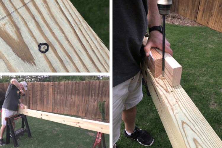 showing drilling for swing set hangers
