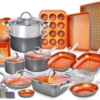 Copper Pots and Pans Set - 23pc Cookware Set Copper Pan Set, Nonstick