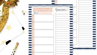 Navy Weekly Meal Planning Calendar Grocery Shopping List Magnet Pad for Fridge