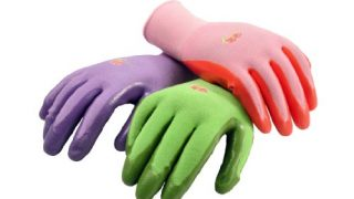 Women's Garden Gloves, nitrile coated work gloves, assorted colors. Women's Large, 6 Pair Pack
