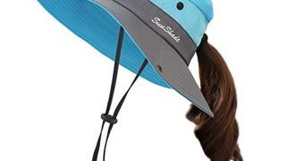 Muryobao Women Ponytail Summer Sun Hat Wide Brim UV Hats Floppy Bucket Cap
