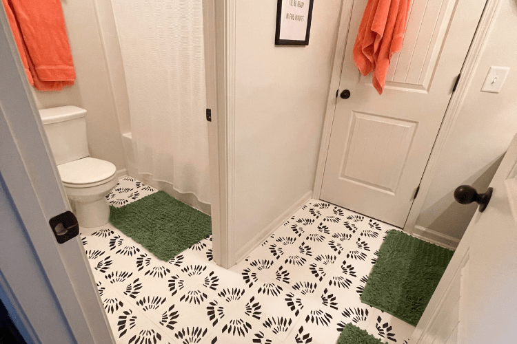 how to paint bathroom tile floors - after image