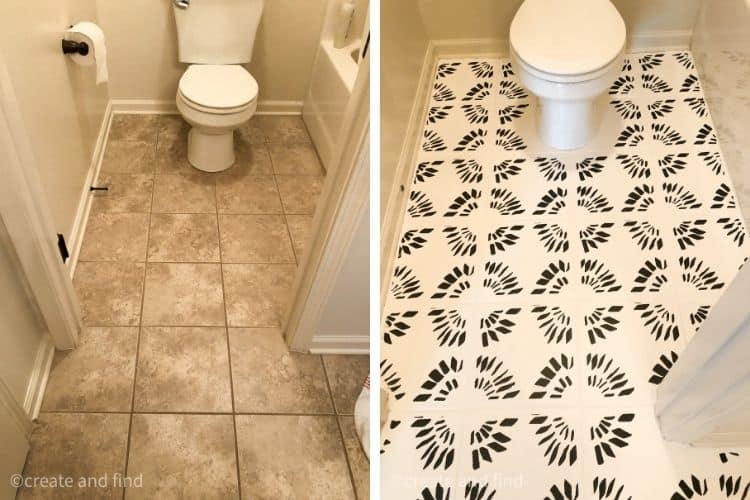 before and after bathroom tile floors